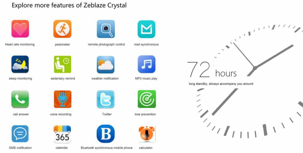 Zeblaze Crystal Smart Apps